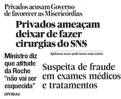Jornal de Notícias, Expresso e Público - edições de 2012